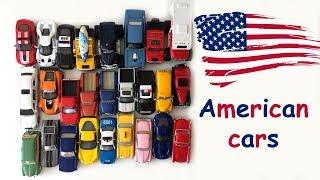 Американские машины - учим марки и модели. Развивающее видео для детей.