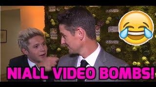 1D's Niall Horan photobombs Justin Rose talking about the EU