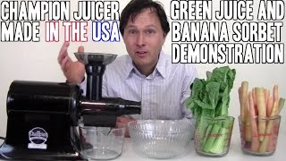 Champion Juicer Green Juice & Banana Ice Cream Review Video