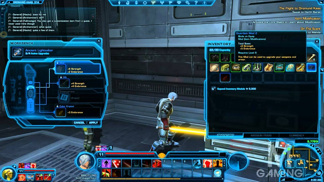 swtor how to modify your lightsaber stats and color