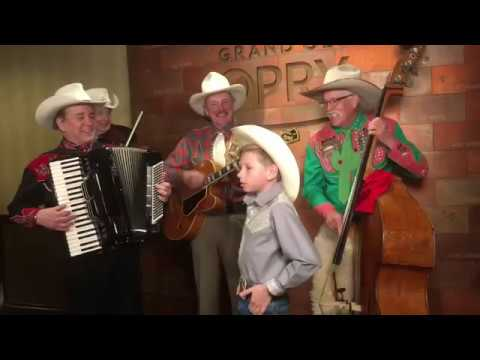 Mason Ramsey Yodeling Boy Singing With Riders In The Sky Musical Group At Grand Ole Opry