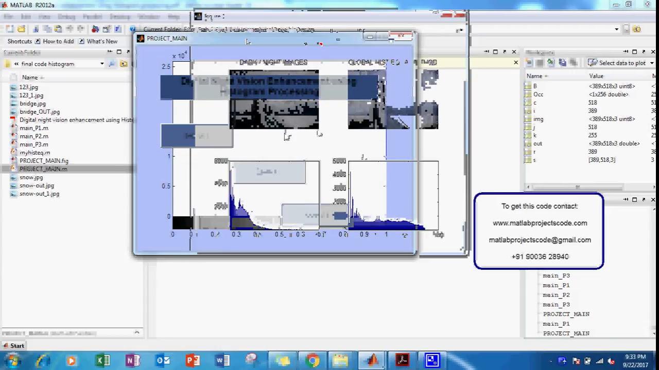 Matlab project for DIGITAL NIGHT VISION ENHANCEMENT USING HISTOGRAM