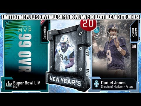 LIMITED TIME PULL! 99 OVERALL SUPER BOWL MVP COLLECTIBLE! LTD GHOST JONES! | MADDEN 20 ULTIMATE TEAM