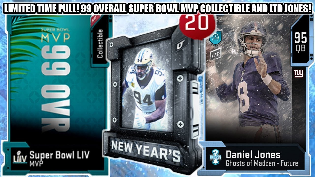 Limited Time Pull 99 Overall Super Bowl Mvp Collectible Ltd Ghost Jones Madden 20 Ultimate Team Youtube