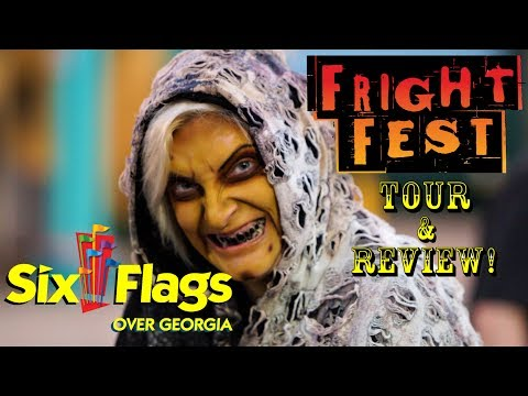 Six Flags Over Georgia 2017 Fright Fest Full Tour / Review With Rides, Mazes, & Scarezones POVS!