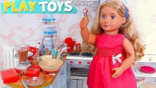 Baby Dolls Cooking Toys in Doll Play Kitchen and Funny Cooking!