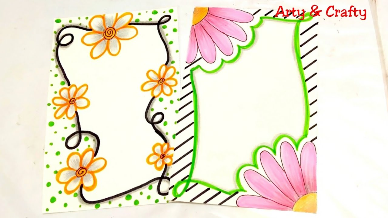 Floral Border Design Front Page Design Border Design On Paper Easy Borders For Project