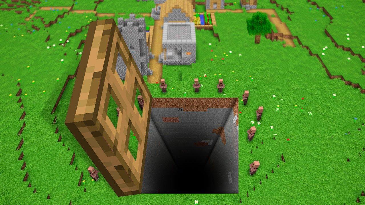 GIANT TRAPDOOR IN VILLAGE CHALLENGE! Minecraft NOOB vs PRO! 100% TROLLING SECRET BIGGEST DOOR BIG