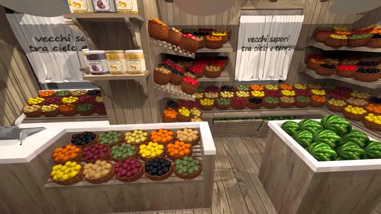 Progetto negozio frutta e verdura youtube for Vendita pallet per arredamento