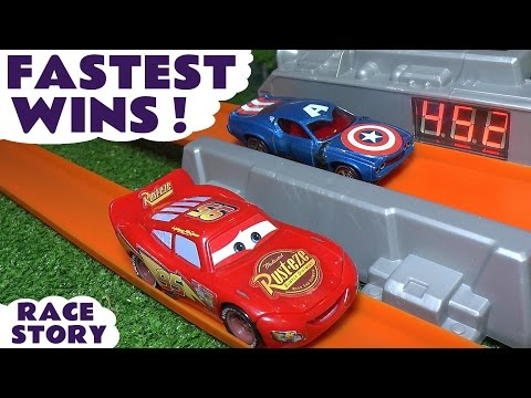 Disney Cars  Toys Hot Wheels fastest wins with Avengers Iron Man Spiderman & Wolverine