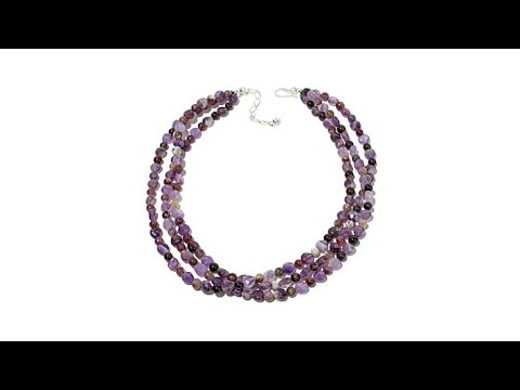 "Jay King 3Row Amethyst and Tourmaline 18"" Necklace"