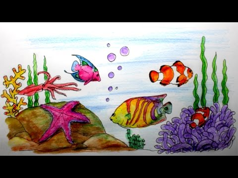 Cara Menggambar Pemandangan Alam Laut Youtube