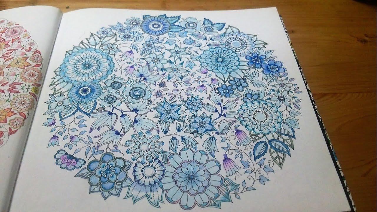 ひみつの花園青色と紫でぬる おとなのぬりえ Youtube