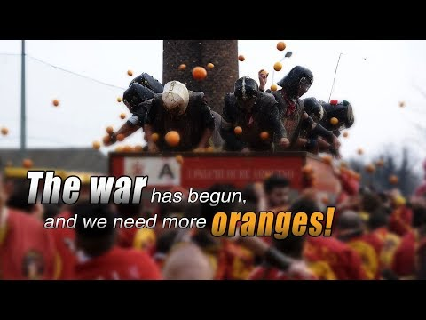 Live: The war has begun, and we need more oranges! 橙如雨下!意大利小镇上演火爆橙子大战