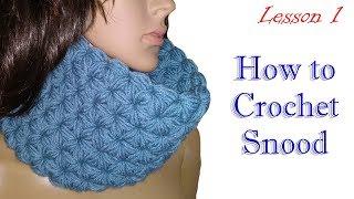 Как вязать снуд - Узор звёздочки - ряд 1 - МК 1/ How to crochet snood - DIY
