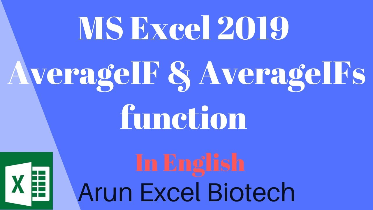 MS Excel 2019  | AVERAGEIF & AVERAGEIFs Function | Multiple Criteria |  English