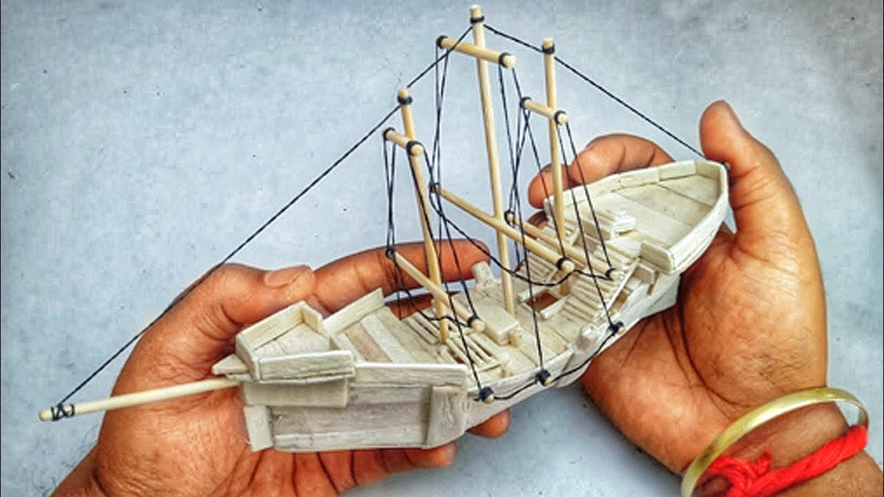 how to make popsicle stick ship popsicle boat diy [ 1280 x 720 Pixel ]