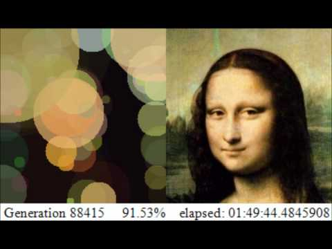 Mona Lisa approximated with 150 circles through hill climbing genetic algorithm