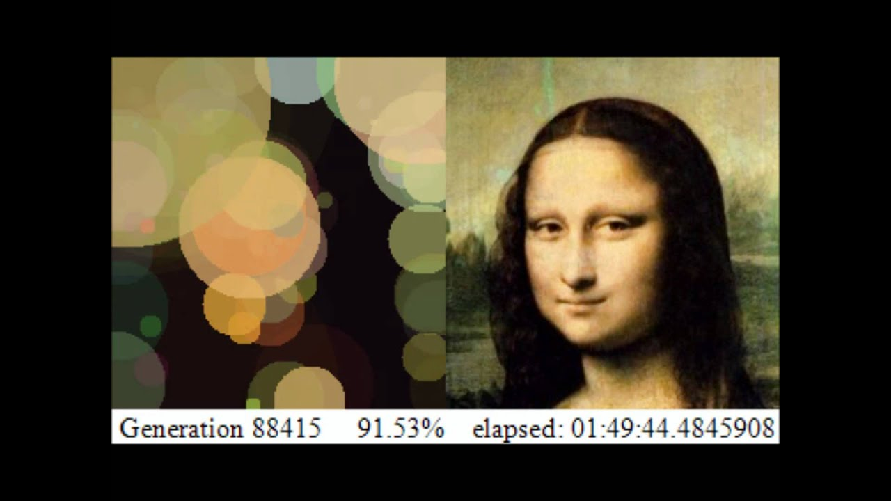 Mona Lisa Approximated With 150 Circles Through Hill Climbing