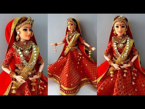 Barbie lehenga punjabi | Indian barbie bridal lehenga and jewellery | Barbie doll lehenga making