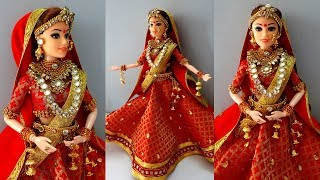 Barbie lehenga punjabi | Indian barbie bridal lehenga and jewellery | Barbie doll lehenga making