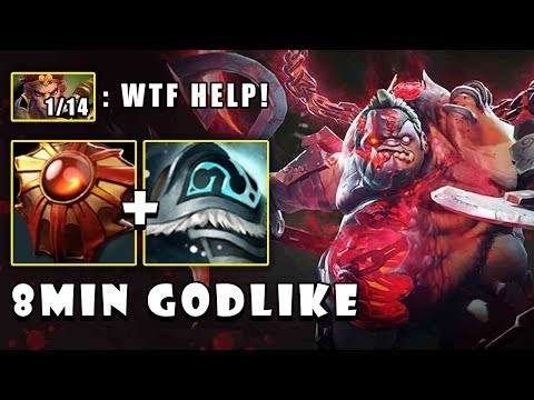 [Pudge] WTF IMBA 8MIN GODLIKE and Deleted Monkey King Mid FullGame Dota 2 7.22e