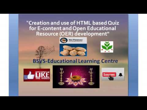 Part-1: How To Create HTML Based Quiz For E-content And Publish As  Open Educational Resource (OER)?