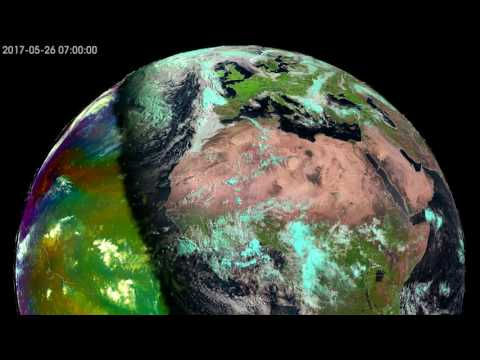 Our Planet seen from geostationary orbit in May and June 2017 every hour