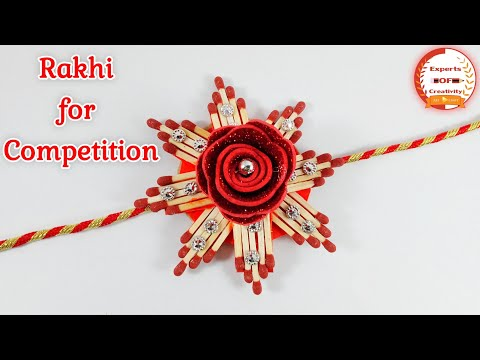 DIY: Easy Rakhi Design!!! How to Make Beautiful Rakhi with Matchsticks/Rakhi making for Competition