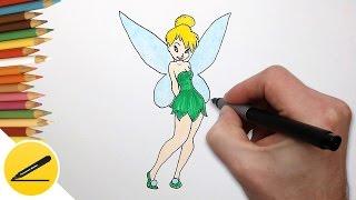 Как Нарисовать Фею Динь-Динь поэтапно | Рисуем фею(Как рисовать Фею. В этом видео я показываю как нарисовать фею Динь-Динь из мультфильма