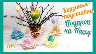 Поделка Пасха 2020.Пасхальные яйца в корзинке из т... бумаги. Пасхальные лайфхаки Easter egg basket
