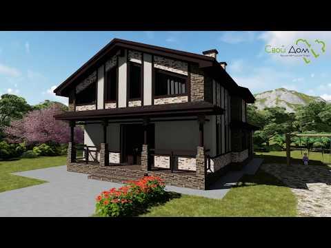 Черри-холл C-207. Проект мансардного коттеджа на 4 спальни, с террасой