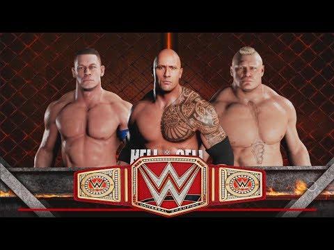 The Rock vs. John Cena vs Brock Lesnar-Triple Threat Match ...