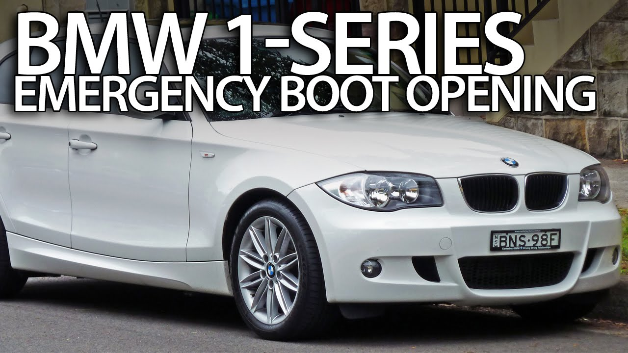 How to open BMW 1Series boot without electric power  E81 E82 E87 E88 emergency trunk opening