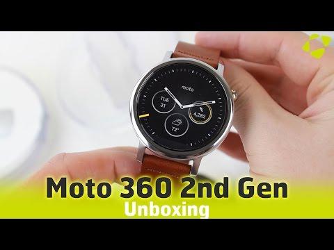 Moto 360 2nd Gen Unboxing - Silver / Leather Cognac Mens 46mm