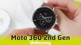 Moto 360 2nd Gen Unboxing - Silver / Leather Cognac Mens 46mm
