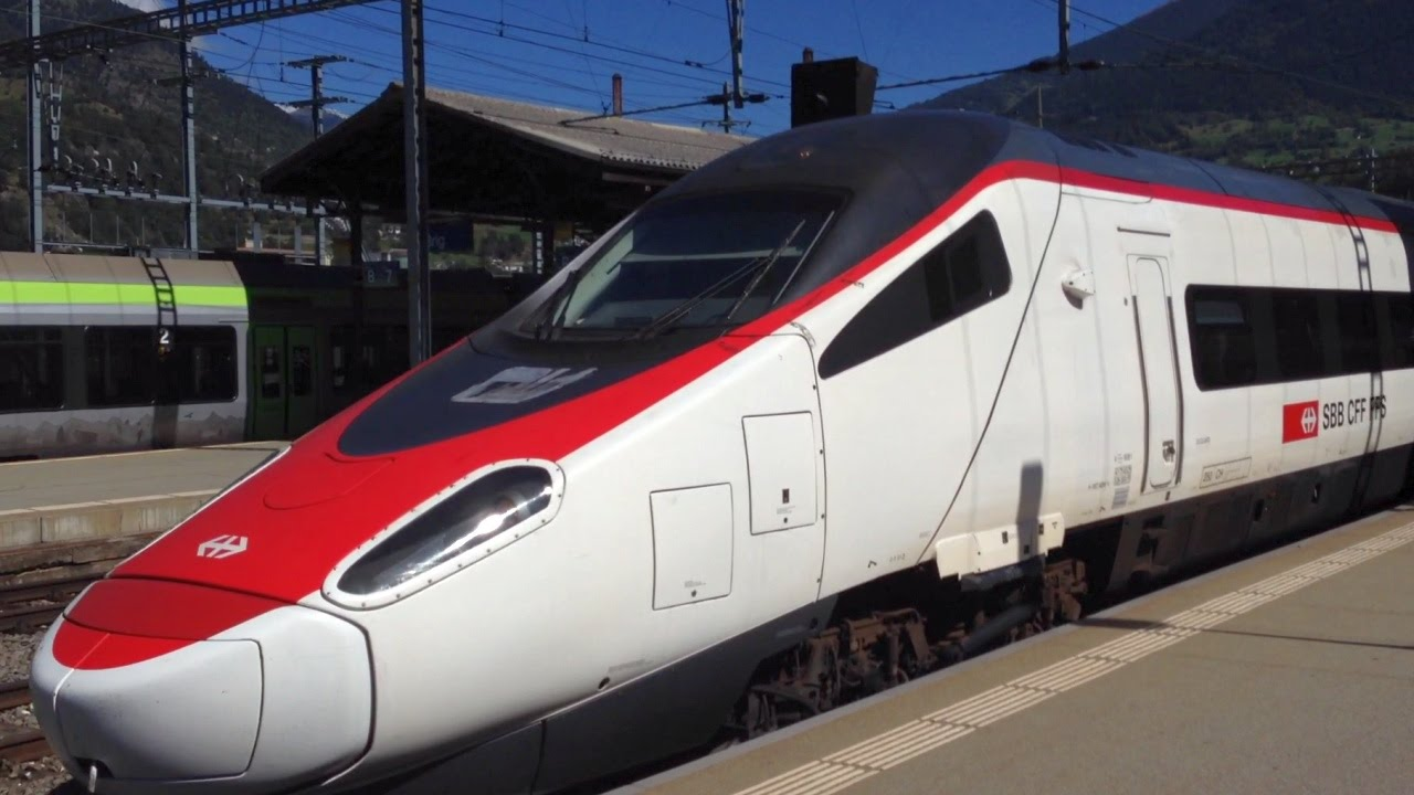 Riding Swiss High Speed Train Eurocity Milan - Basel between Domodossala  and Brig