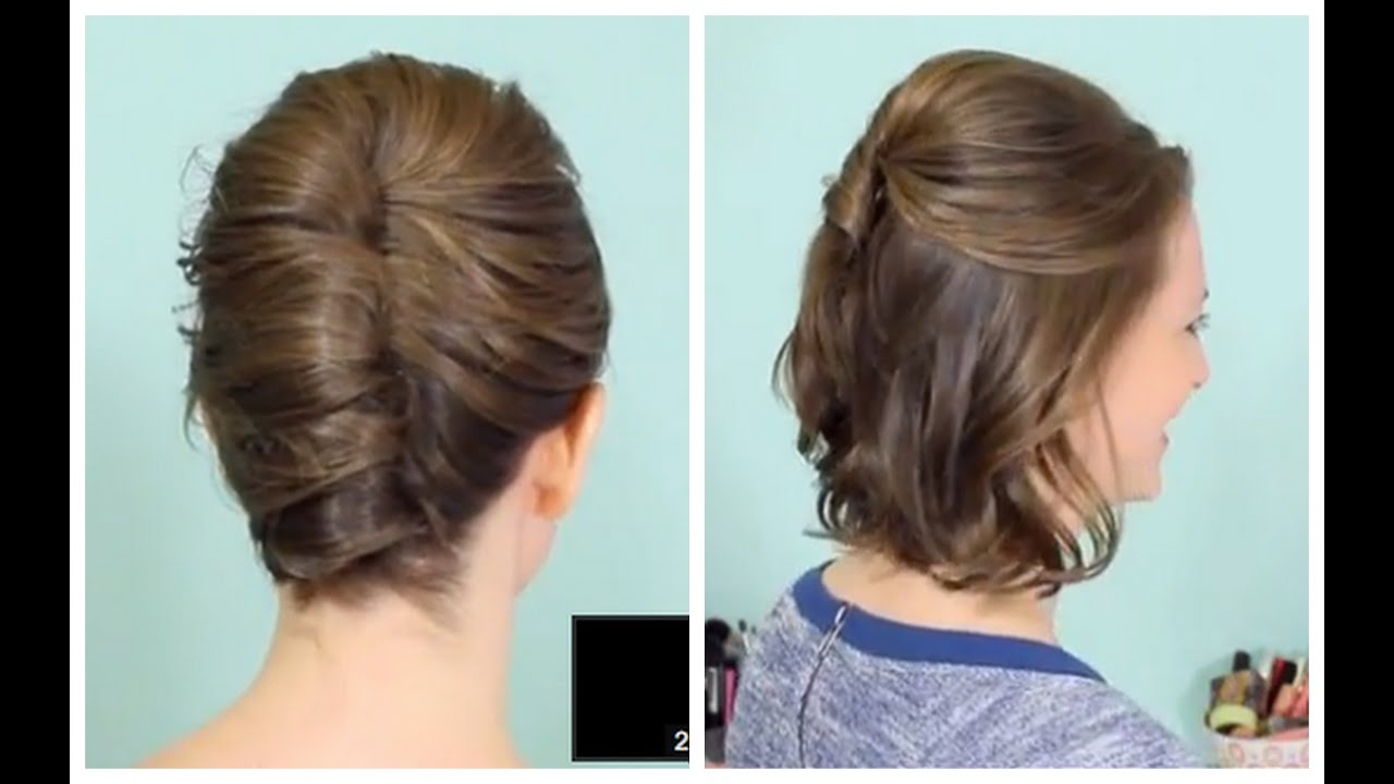 Hairstyles For Short Hair Upto Shoulders : French Twist & Half Updo for Short hair! - YouTube