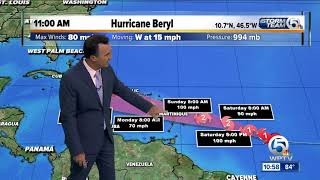 Hurricane Beryl packing 80 mph winds at 11 a.m. Friday