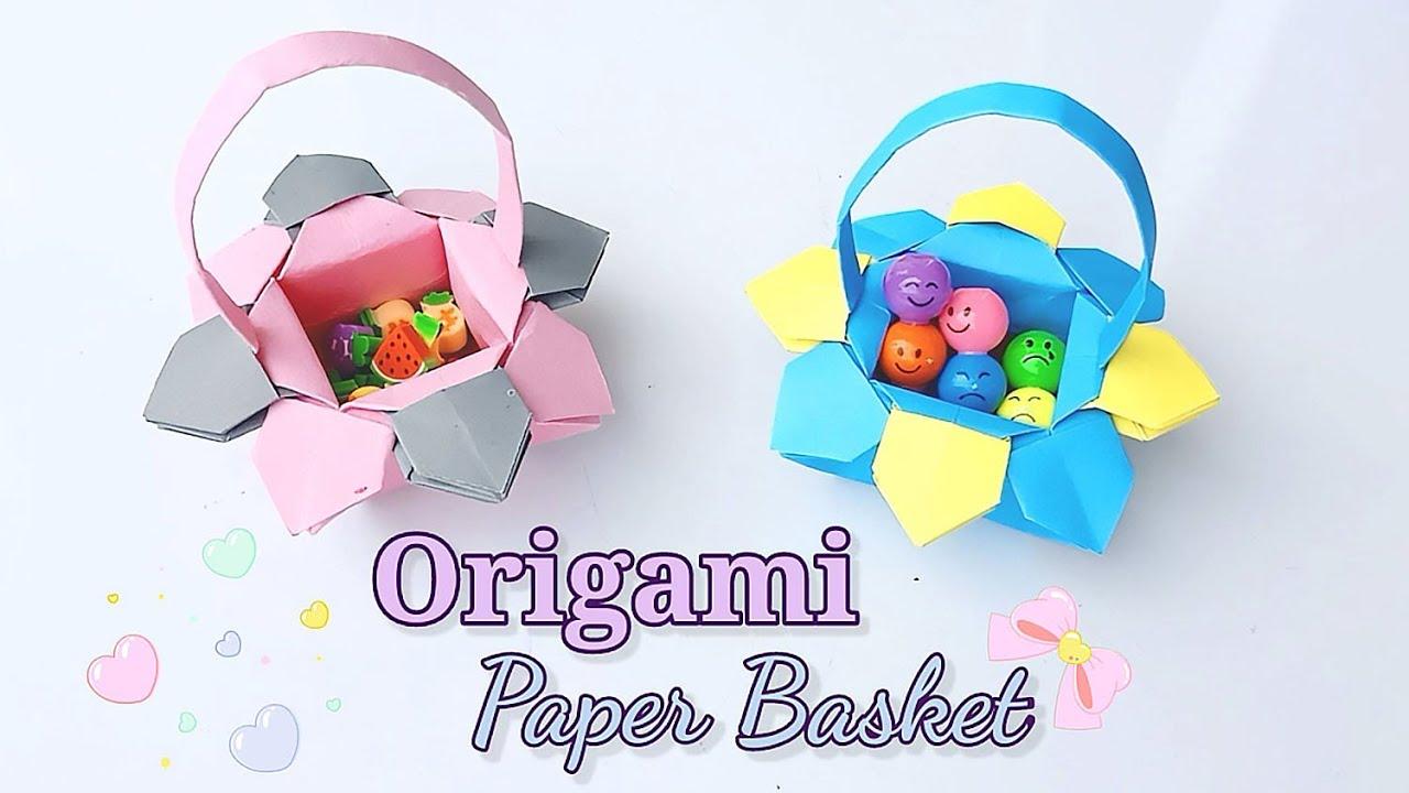 How To Make Paper Flower Basket - DIY Flower Shaped Paper Basket for Occasion