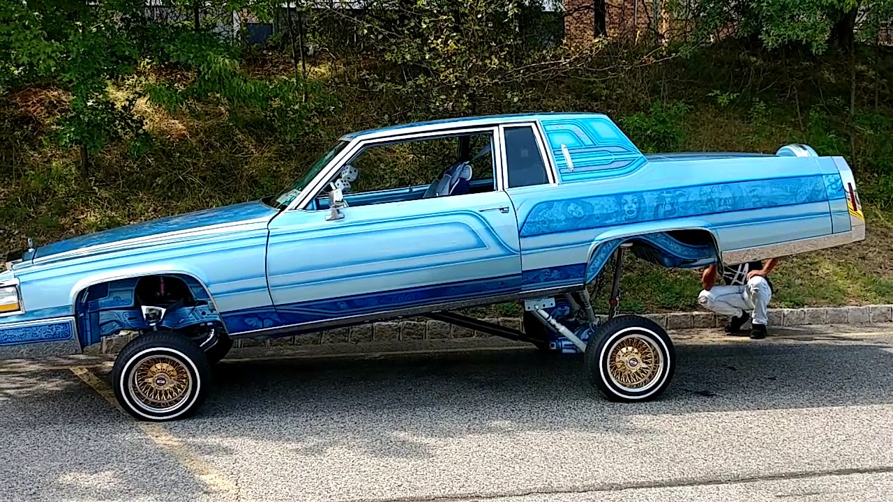 1984 custom light blue artistic paint job cadillac coupe. Black Bedroom Furniture Sets. Home Design Ideas