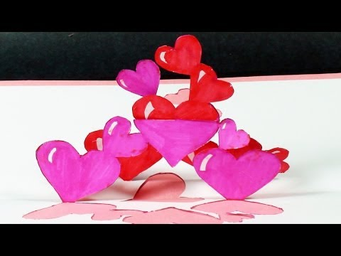 How To Make A Tangled Hearts Pop Up Card Free Template Kirigami Valentine S Day Greeting
