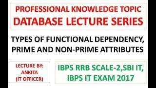 Types of Functional Dependency For IBPS RRB Scale-2|SBI IT|IBPS IT Officer Exam 2017 2017 Video