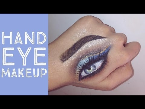 Hand Eye Makeup Tutorial | Gold and Blue Ombré - Gina Makeup
