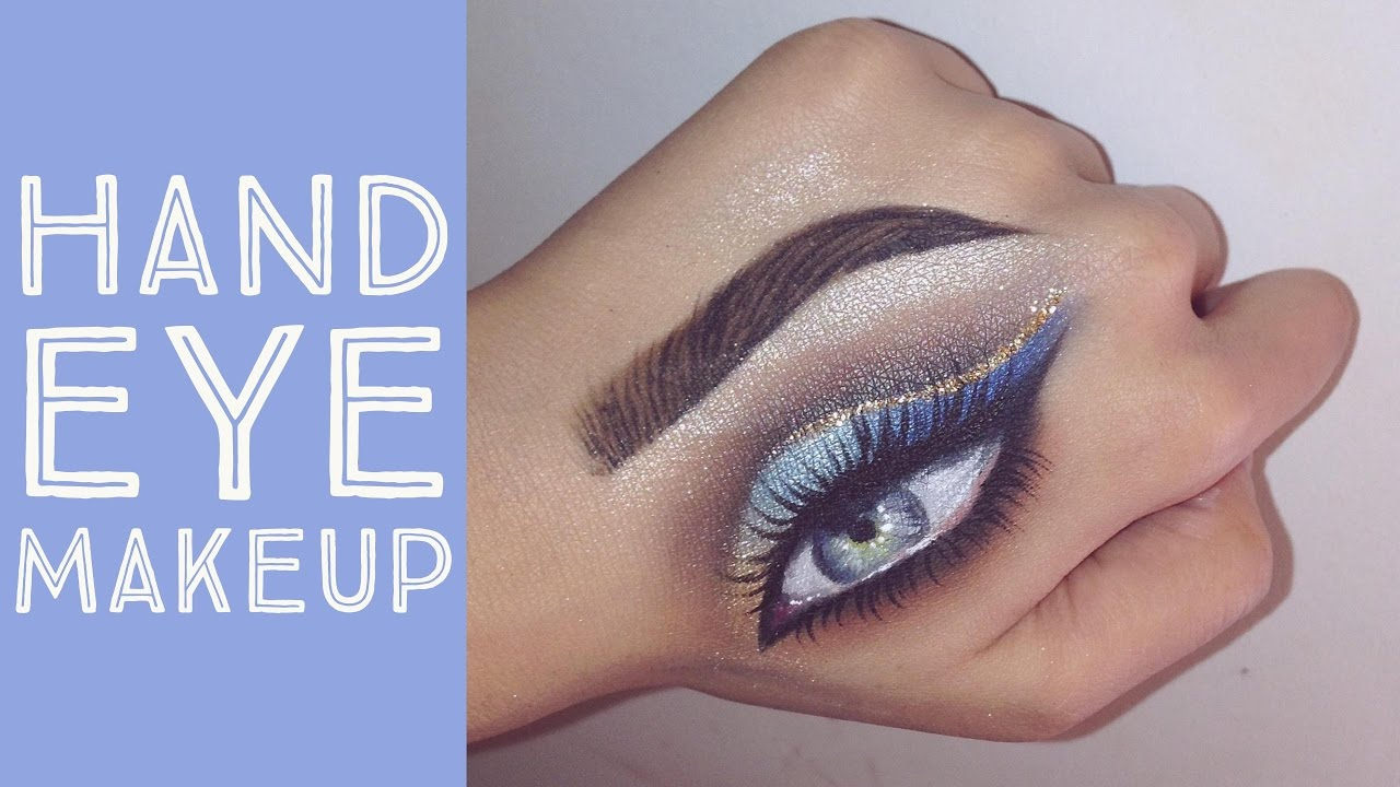 7df2e093eb75 Hand Eye Makeup Tutorial | Gold and Blue Ombré - Gina Makeup