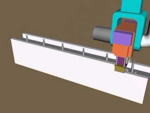 Animation of reinforcement plumbing and electrical network installation - Contour Crafting