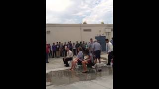 Mission middle school assistant principal and principal do the ice bucket challenge