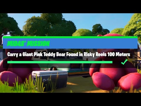 Carry A Giant Pink Teddy Bear Found In Risky Reels 100 Meters - Fortnite Midas' Mission Challenges
