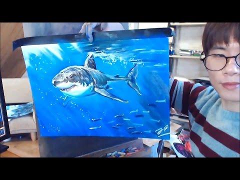 상어(백상아리) 그리기 Drawing Great white shark using pastel