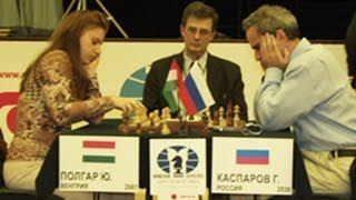 Judit Polgar BEATS Garry Kasparov - Russia vs the Rest of the World - 2002